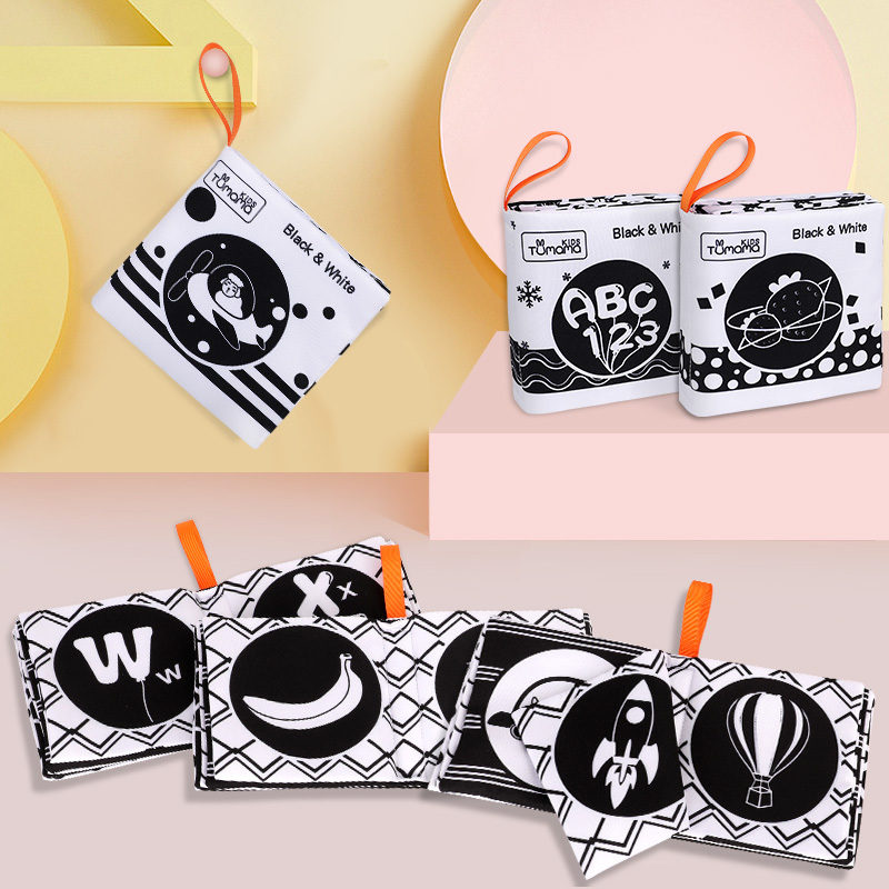 TUMAMA KIDS Baby Toys Soft Cloth Books Black White Newborn Early Learning Education Toys For Children Cloth Book
