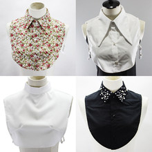 Linbaiway – chemise à Faux Col pour femme, 43 Styles différents, Col détachable, motif Floral, demi-chemise