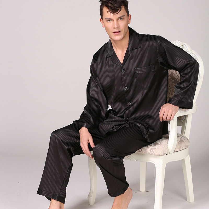 Men Leisure Suits Silk Pajamas For Men Striped Sleepwear Men Pajama Sets Long Sleeve Pants Silk Suit Large Size Home Clothes