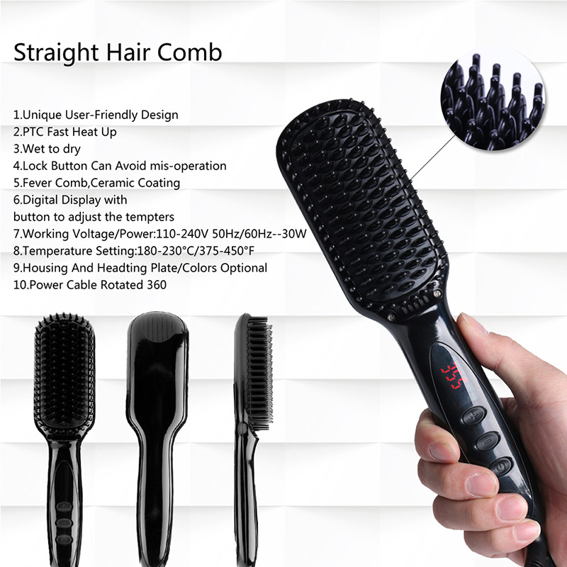 Newest Hair Brush Fast Hair Straightener Comb Hair Electric Brush Comb Irons Auto Straight Hair Comb Brush Hairdressing Tools