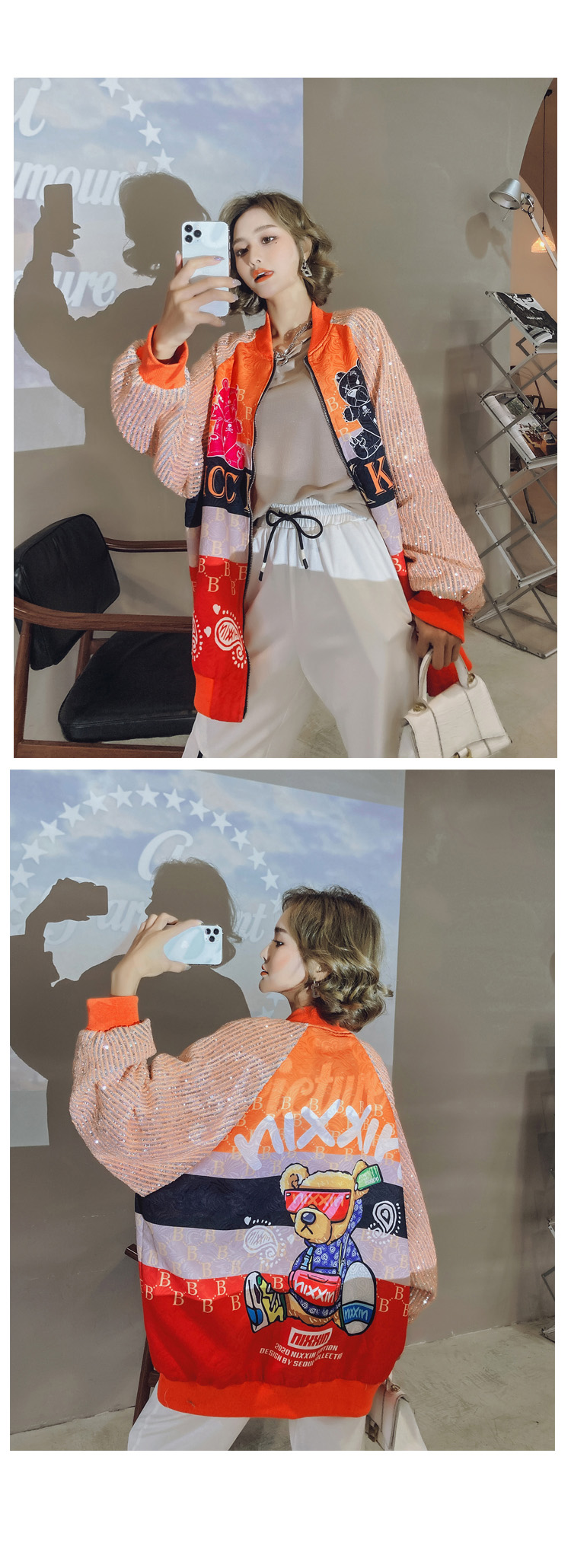 Hd7f76bb5e528406c8213fe65e9f6c074W 2021 Spring Women Long Sequins Print Patchwork Loose Coat