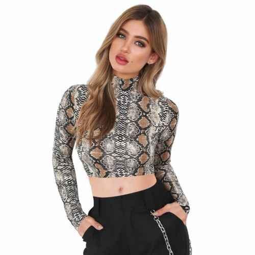 Yeni Zarif Kadın Ince Kırpma Üstleri Rahat Yılan Baskı Şeffaf Kırpma Üst Uzun Kollu T-Shirt Moda Streetwear