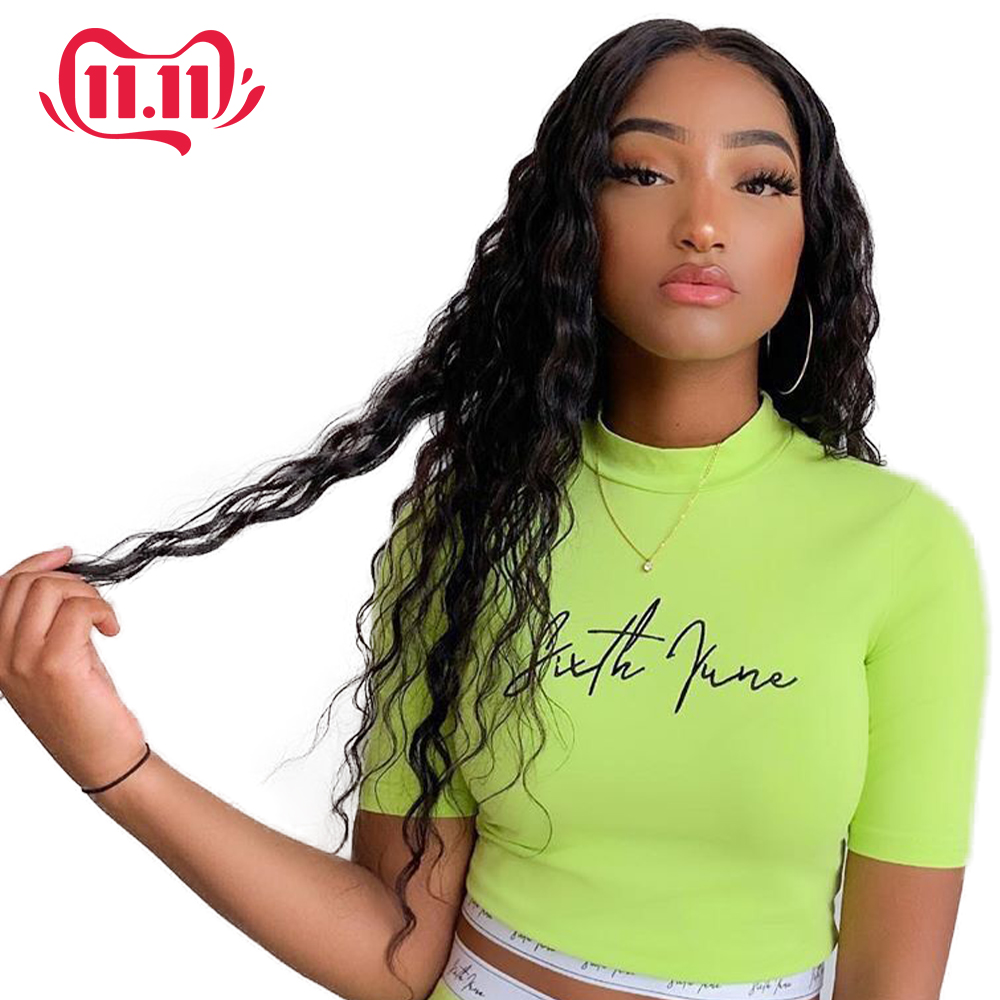 Brazilian Water Wave Lace Front Human Hair Wigs 13*4 Lace Human Wigs Pre Plucked With Bady Hair Remy Hair Wigs For Black Woman