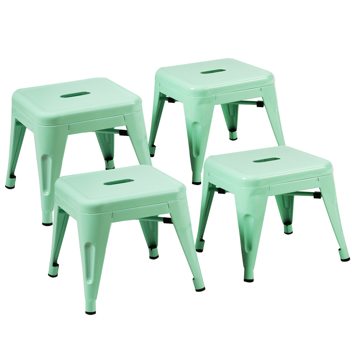 4-Set Tolix Style Stackable Kids Steel Stool Metal Square Home Toddler Green