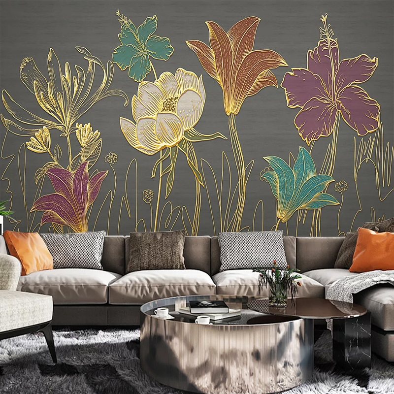 Custom 3D Wall Murals Wallpaper Luxury Golden Embossed Flower Leaves Modern Living Room Dining Room Background Photo Wall Paper