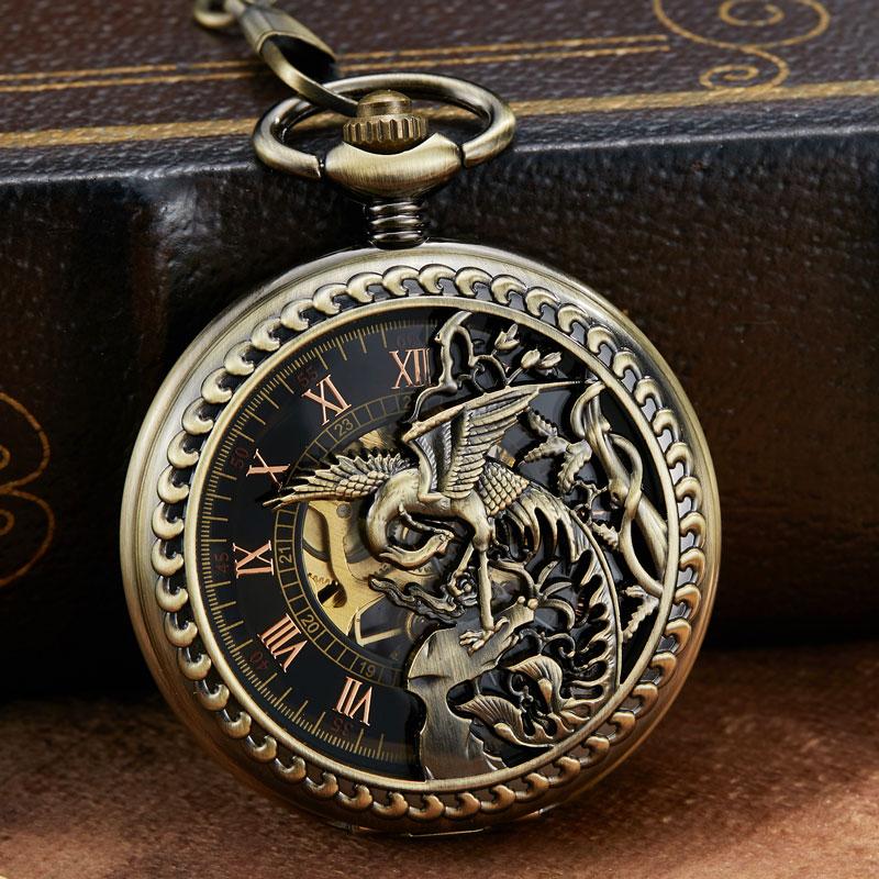 Vintage Mechanical Pocket Watch Hollow Phoenix Bird Roman Skeleton Clock Hand Winding Men Fob Chain Watches Double Case Clock