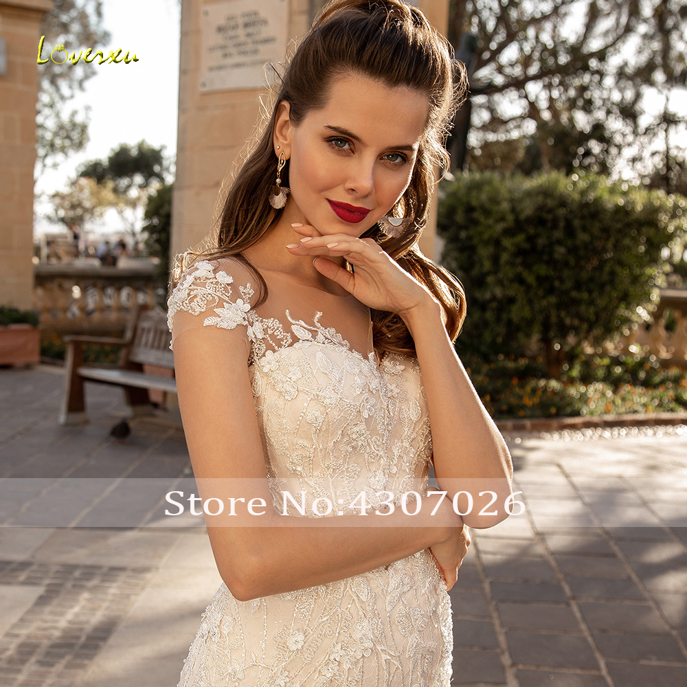 Image 4 - Loverxu Scoop Sequined Mermaid Wedding Dresses Elegant Applique Beading Cap Sleeve Bride Dress Court Train Bridal Gown Plus Size-in Wedding Dresses from Weddings & Events