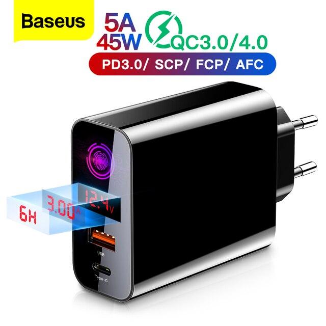 Baseus شحن سريع 4.0 3.0 USB شاحن آيفون 11 برو ماكس سامسونج شاومي هواوي SCP QC4.0 PD سريع الجدار شاحن الهاتف المحمول