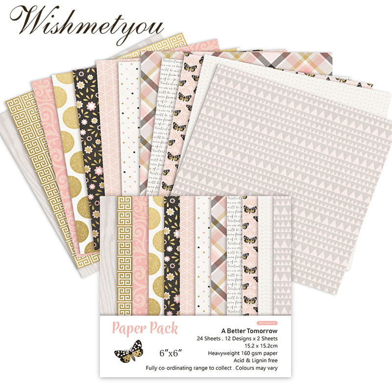 WISHMETYOU 24PCS A Better Tomorrow Flowers Butterflies Scrapbook stickers Patterned Paper Handcrafted Craft Background NEW