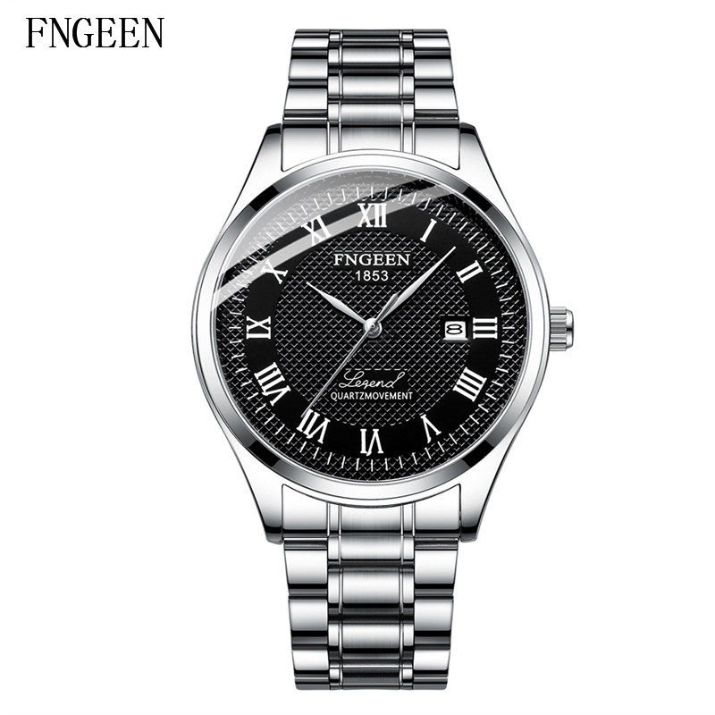 Classic Men's Watch Rome Date Calendar Business Clock Silver Black Stainless Steel Male Sports Wrist Watches Luxury Sports Hours