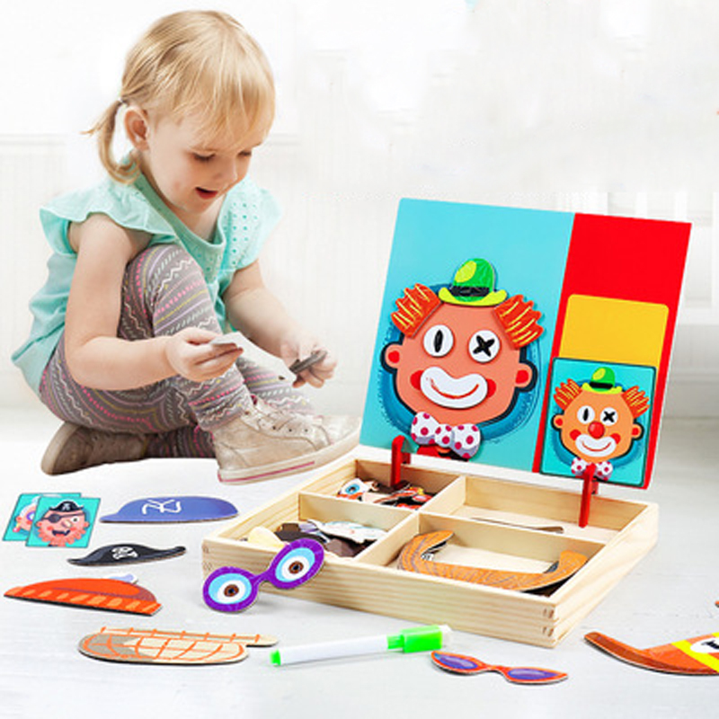 Educational Toys Wooden Magnetic Puzzles Game Wooden Cognitive Pairing Beneficial Intelligence Magnetic Paste Face Feature Toys