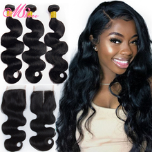 Mshere Hair Peruvian Hair Body Wave Human Hair Bundles With Lace Closure Nature Black Pre Plucked Closure With Hair Bundles 1B#