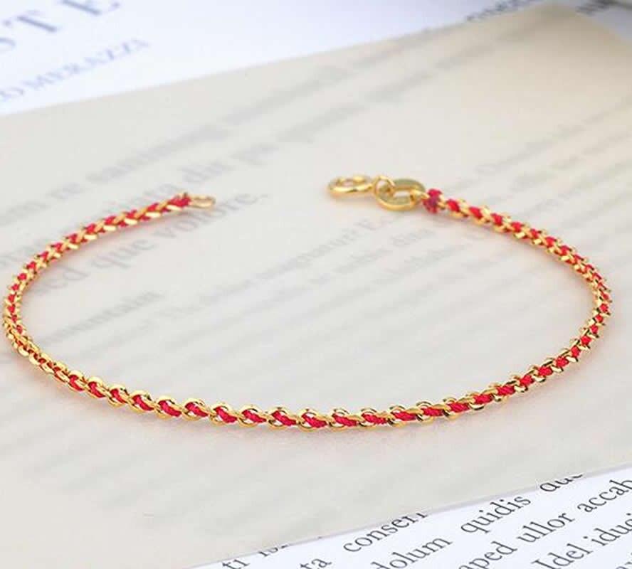 Bracelet solide en or jaune 18K Bracelet à maillons en or rouge AU750 porte-bonheur