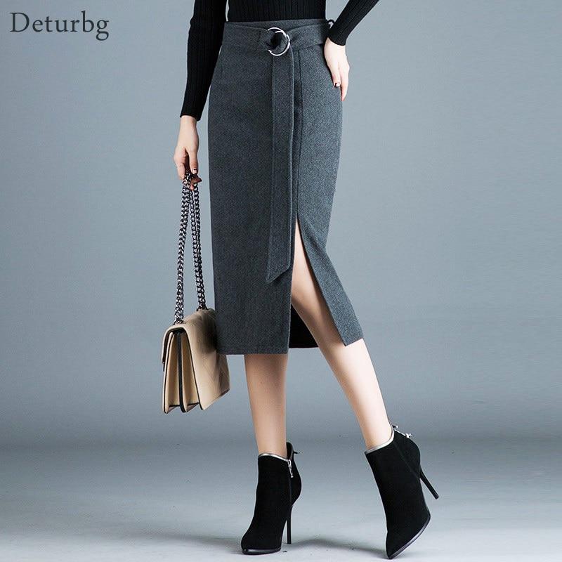 Женская шерстяная юбка карандаш со съемным поясом, элегантная повседневная теплая офисная юбка средней длины с высокой талией в Корейском стиле, зима 2019|Юбки|   | АлиЭкспресс