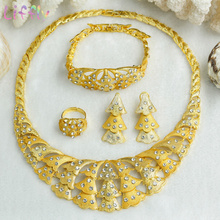 Liffly Fashion Women Jewelry Sets Charm African Wedding Necklace Earrings Ring Bracelet Crystal Bridal Set