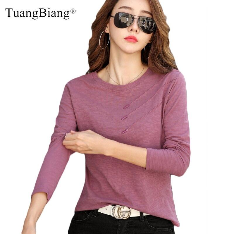 Женская Повседневная футболка с длинным рукавом из бамбукового
