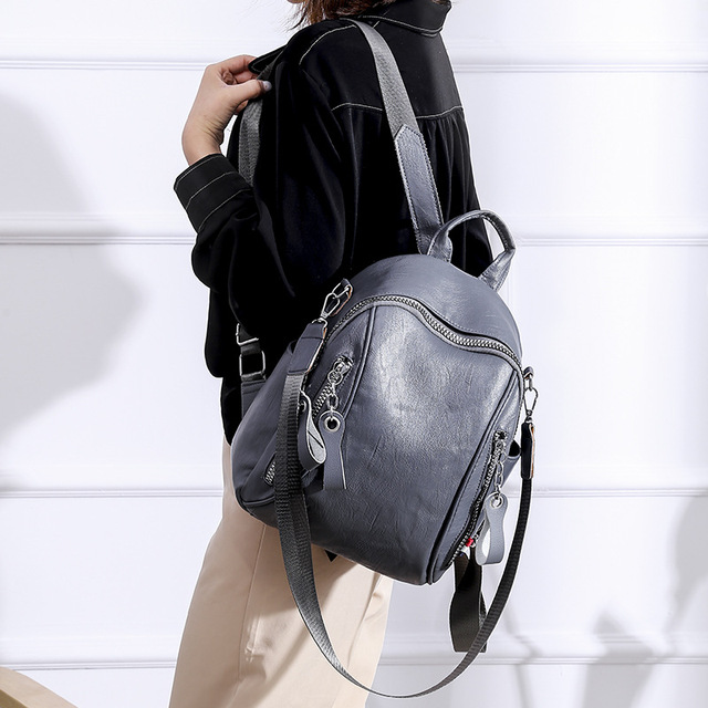 Women's Bag 2019 New Fashion Double-side Zipper Double Shoulder Bag Simple Travel Backpack  Women Backpack