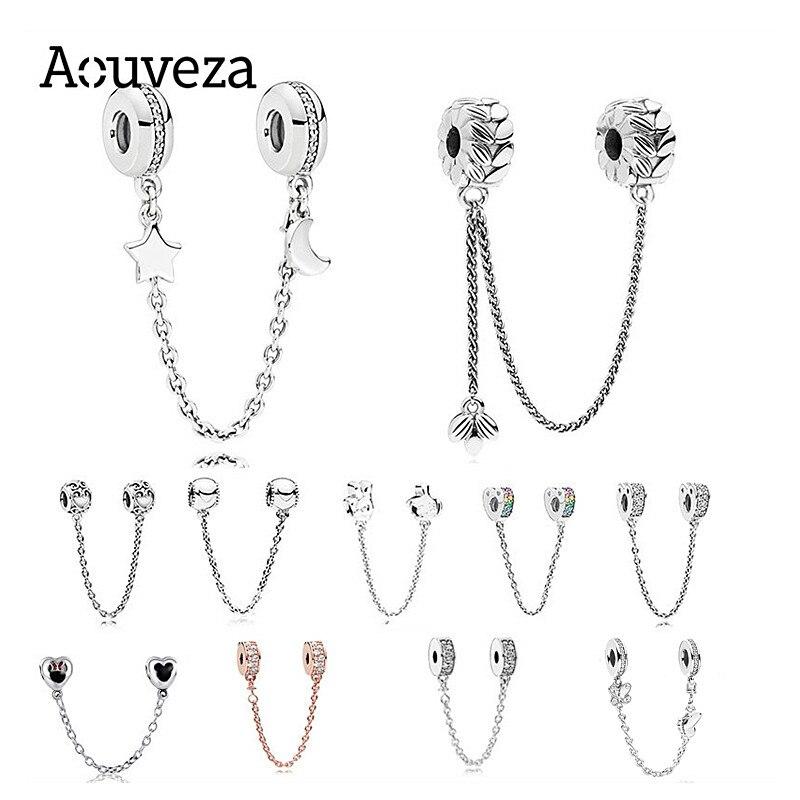 Nova estrela cintilante e lua corrente de segurança pingente contas caber original pandora prata 925 pulseiras pingente diy jóias para mulher