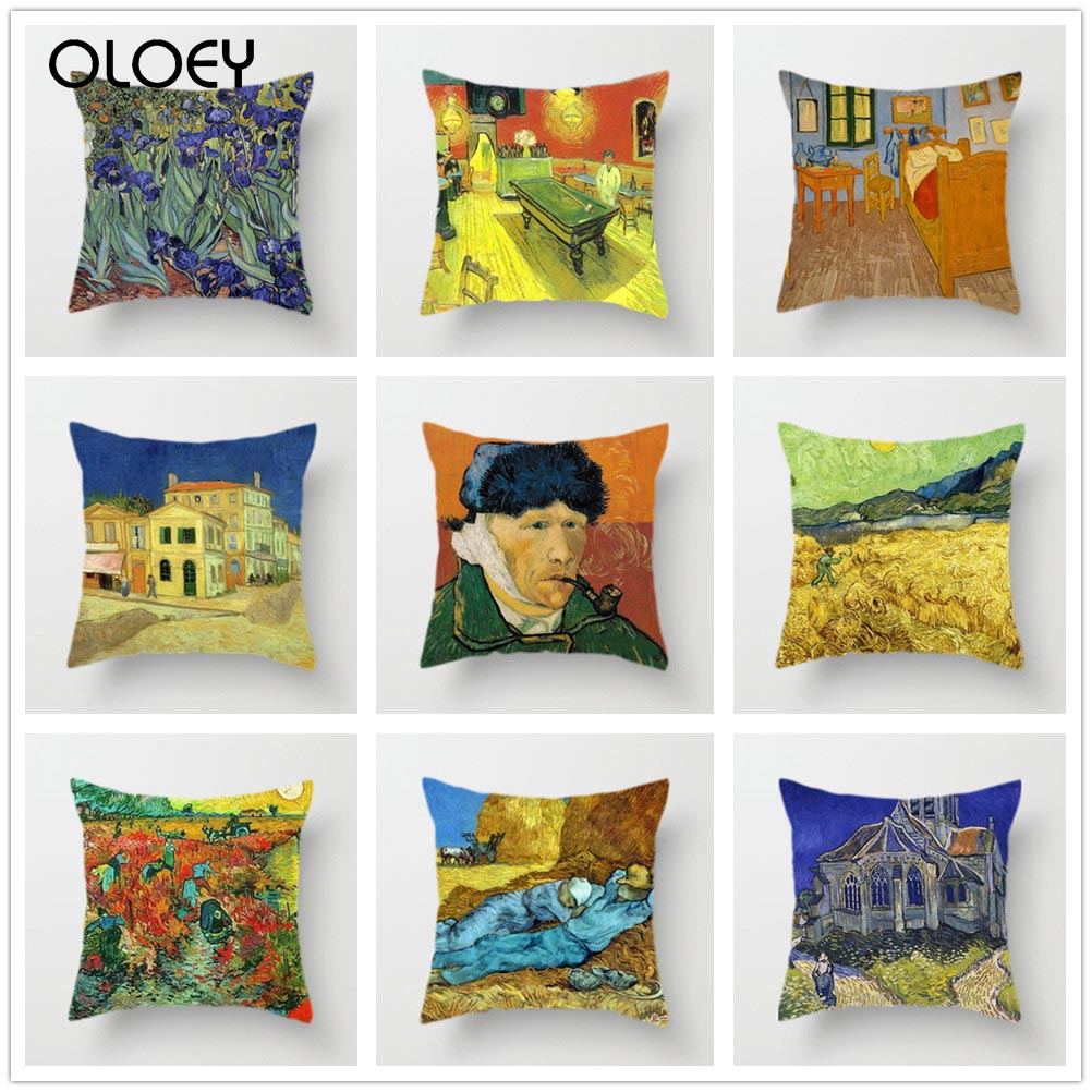 Van Gogh Oil Painting Pillowcase Home Decorative Pillow Covers Sunflower Self-portrait Starry Sky Print Pillowcase Decoration  .
