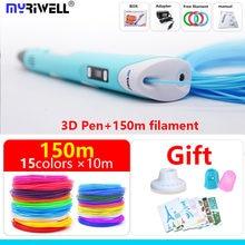 Myriwell caneta 3 d 3d rp 100b 1.75mm, caneta pla filamento display led, ferramenta de desenho, presente de aniversário e natal apresenta alça 3d