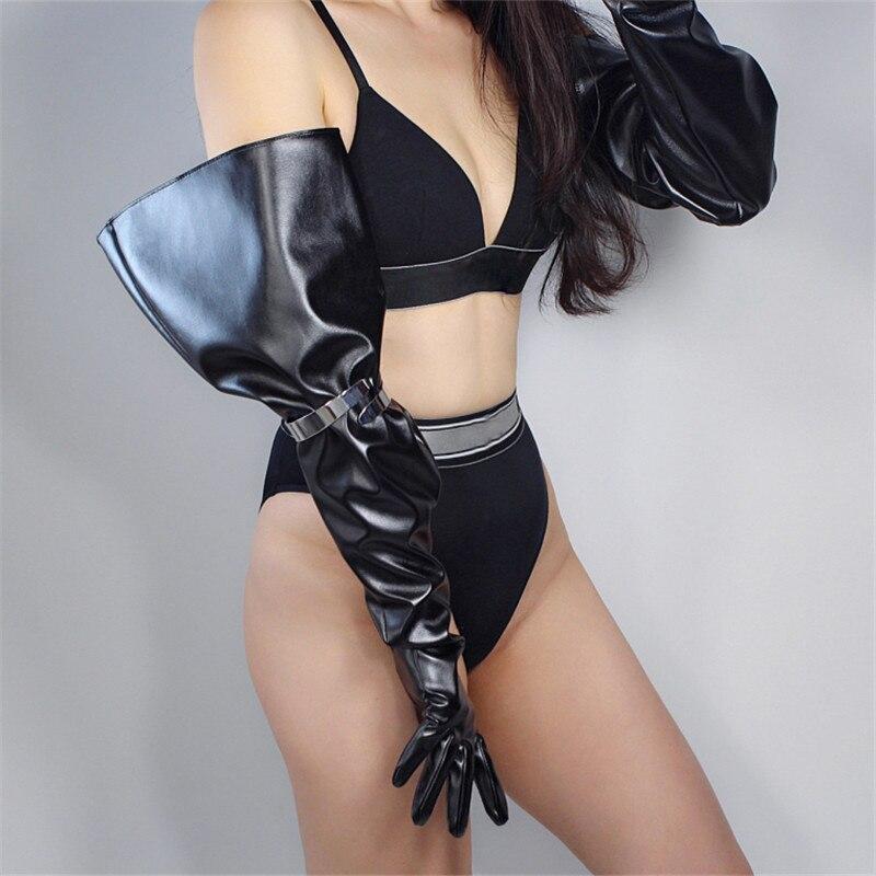 2020 New Touchscreen Long Gloves 70cm Big Sleeve Wide Cuff Lantern Sleeve Puff Sleeve Emulation Leather Men Women Gloves WPU138
