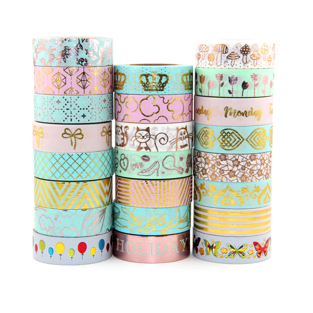 Купить с кэшбэком Sale price Randomly mix 30 rolls lot(set/kit) Top quality foil washi tape masking Japanese Washi foil tape 15mm*10m Top quality