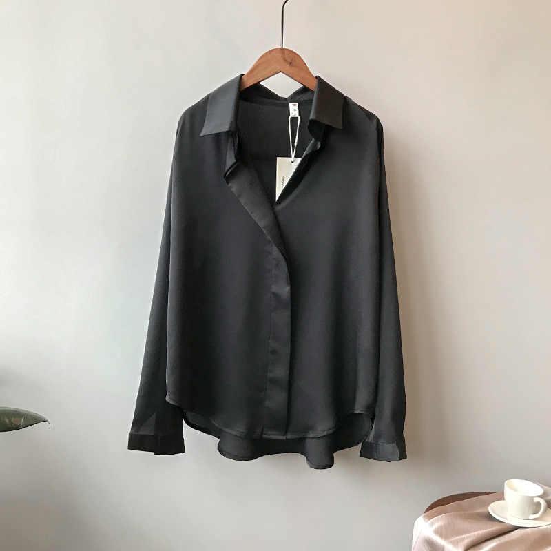 Blusa de mangas largas de satén de Moda de Primavera de 2019 para mujer blusa de calle con cuello en V para mujer elegante blusa de seda de imitación 5273 50