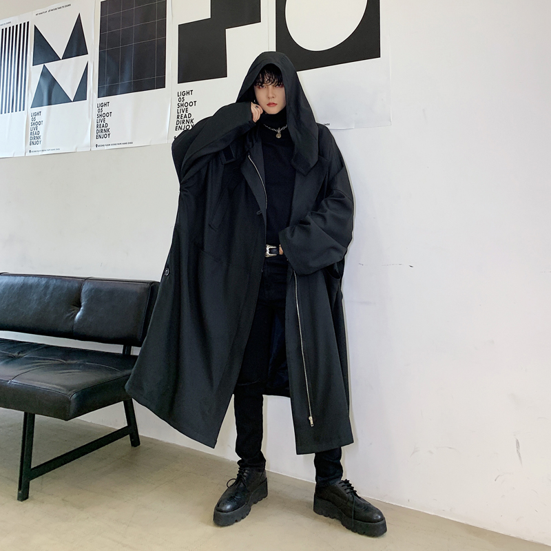 Men Oversize Loose Casual Black Hooded Long   Trench   Coat Male Women Streetwear Gothic Windbreaker Jacket Overcoat Cloak