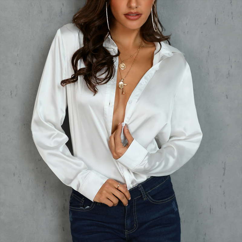 Women Sexy V Neck Party Club Blouse Ladies Long Sleeve Fashion Tops 2019 Autumn Office Work Elegant Shirts