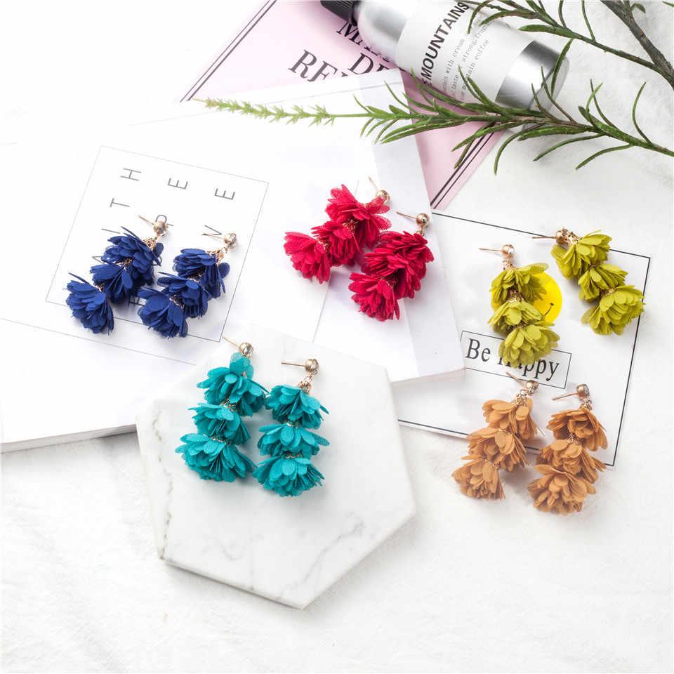 TOP ยอดนิยมใหม่ Zircon ออสเตรียผ้ากลีบดอกไม้ Drop ต่างหูสำหรับผู้หญิงงานแต่งงานเครื่องประดับต่างหู