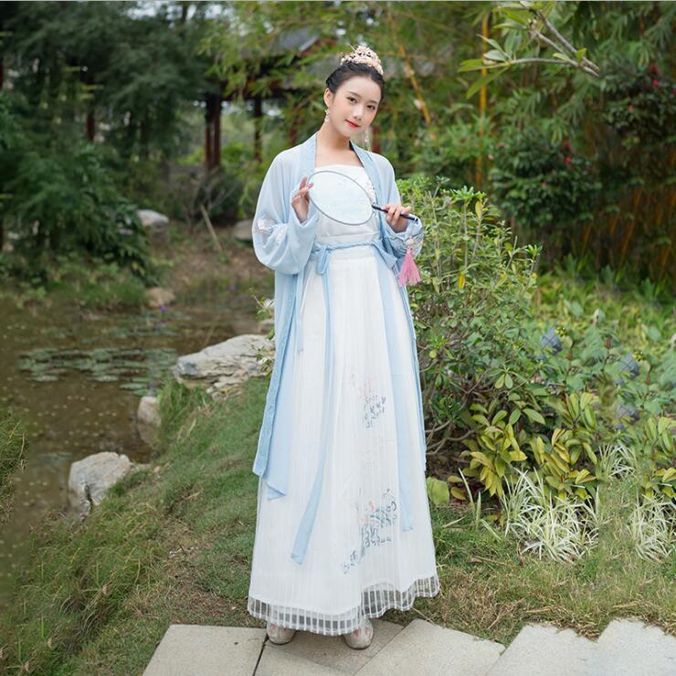 Han Photography Travelling  Light  Blue Fairy Female Stage Daily Hanfu Art Costume Three Piece Chinese  Japanese Eastern Style