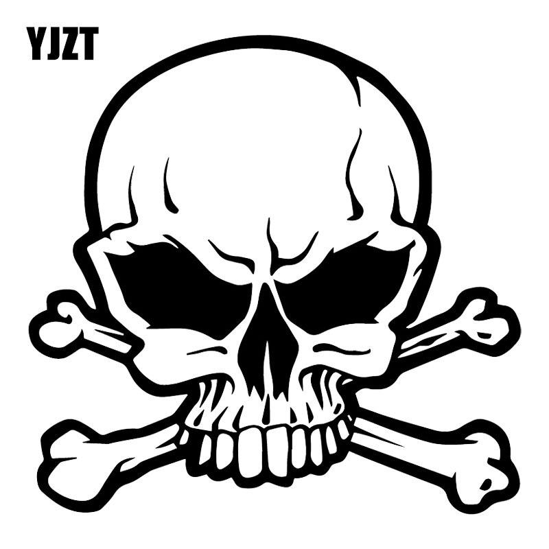 YJZT 16.9X16.4CM Pirate Skull Funny Bumper Decoration Car Sticker Personality Vinyl Decals C25-0743