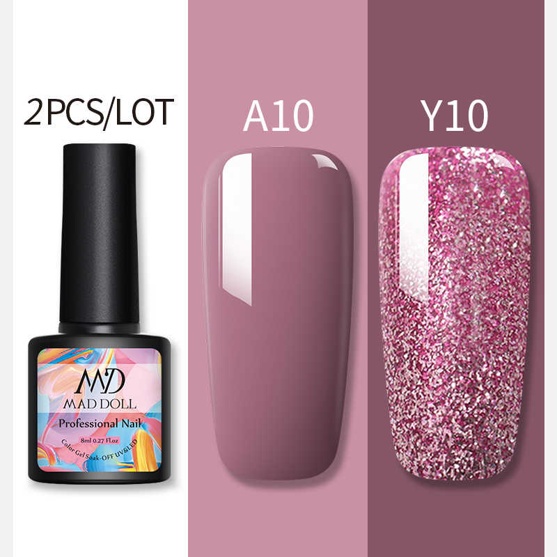 2 Pcs/1 PC 8 Ml Mawar Emas Glitter Gel Nail Polish LED Tahan Lama Uv Gel Varnish pernis Shinning Sequins Gel Berkilau Dekorasi