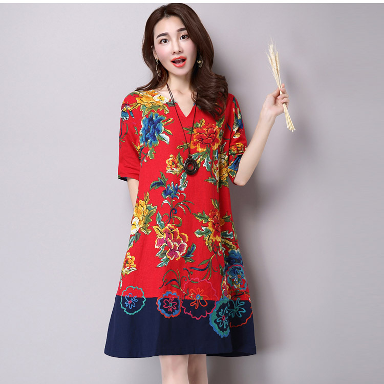 2019 Spring Summer New Style Ethnic-Style Cotton Linen Large Size WOMEN'S Short Sleeve Shirt Joint Embroidery Dress
