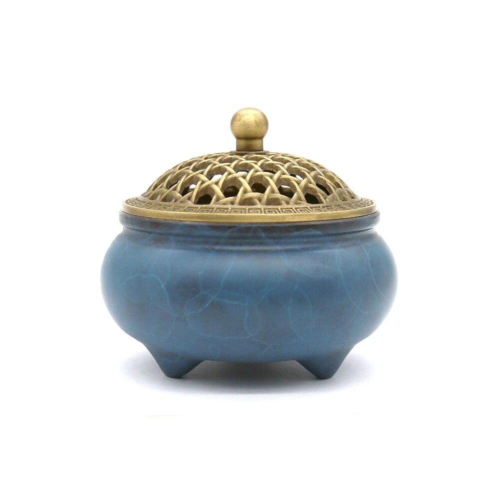 YONG HE XUAN brûleur d'encens en laiton coloré à trois pattes poids Net: 699g (environ) Contenir porte-encens