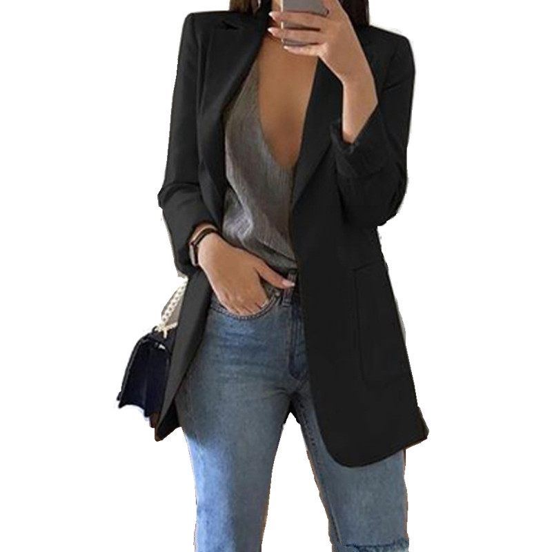 Sexy Women Blazer Slim Jacket Plus Size Long Sleeve Outwear Top Long Sleeve OL Formal Clothes Notched Collar Ladies Blazers