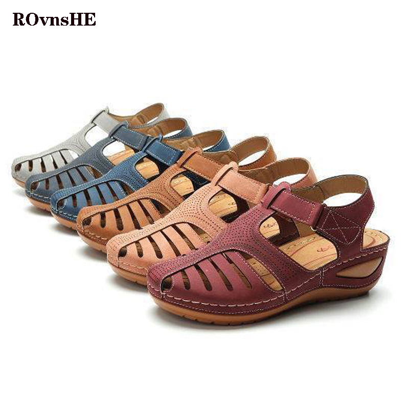 Women's Sandals Summer Ladies Girls Flat Med-Wedge Retro Solid Comfortable Ankle Hollow Round Toe Female Soft Beach Sole Shoes