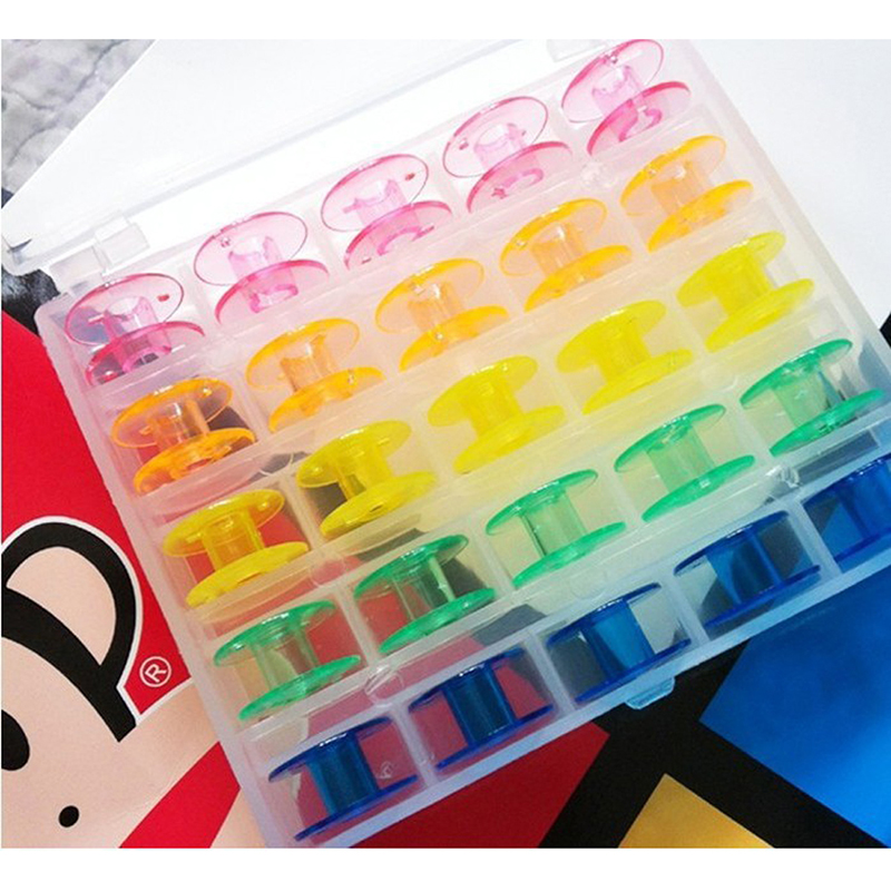 Packing-Storage-Box Sewing-Machine Transparent Bobbin Hollow 25-Lattice Multi-Colored