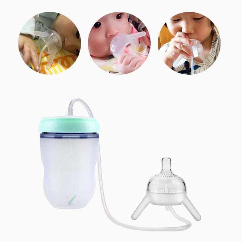 250ml Baby Bottle Kids Cup Silicone Sippy Children Training Cute Baby  Drinking Water Straw Feeding Bottle Hands free Bottle|Bottles| - AliExpress