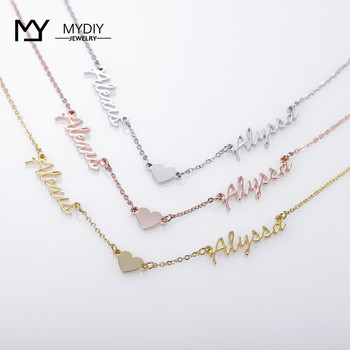 Personalized Double Name Love Necklace Stainless steel customized nameplate jewelry Mom gift Necklace for Women for Mom Gift sideway customised double nameplate necklace personalized two name pendants jewelry family name bar necklace christmas gift