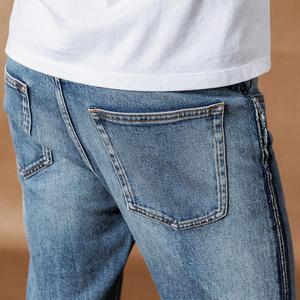 Image 4 - Calças de brim SIMWOOD homens moda Raw borda lateral listrado moda denim calças plus size 2019 outono inverno novas calças 190403