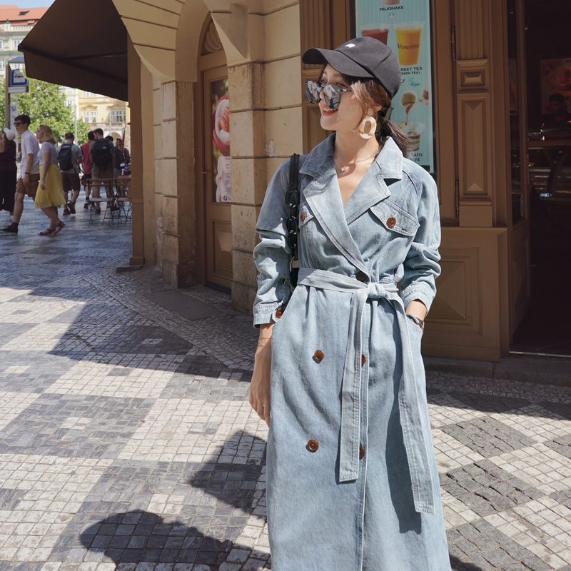 Women's Denim Trench Coat 2020 New Spring and Autumn Loose Denim Coats Windbreaker Fashion Wild Long Trench Coat Female NS1905