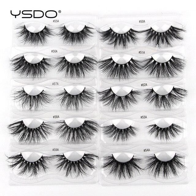 YSDO 25mm Eyelashes Wholesale 10/20/100 Pairs 25mm 3D Mink Lashes Makeup Long 5D Real Mink Eyelashes In Bulk Thick Fake Lashes 4