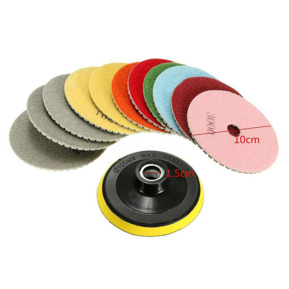 12Pcs Polishing Pads Wet/Dry Grinding Wheel Marble Granite 4 Inch Tools Set