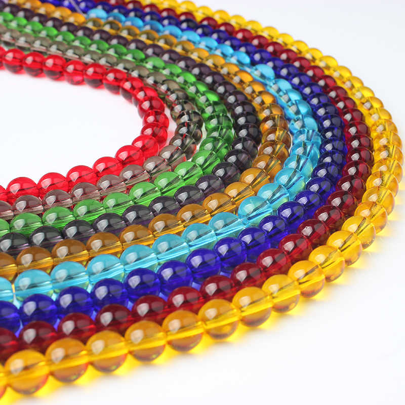 Lanli moda jóias 4/6/8/10/12mm colorido vidro grânulos soltos diy homens e mulheres pulseira colar orelha parafuso prisioneiro acessórios fazer