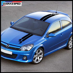 Racing Lattices Stripes Car Hood Roof Decor Stickers For Opel Astra GTC OPC 3-5 Doors 1 set Auto Body Exterior Decals (2)_副本