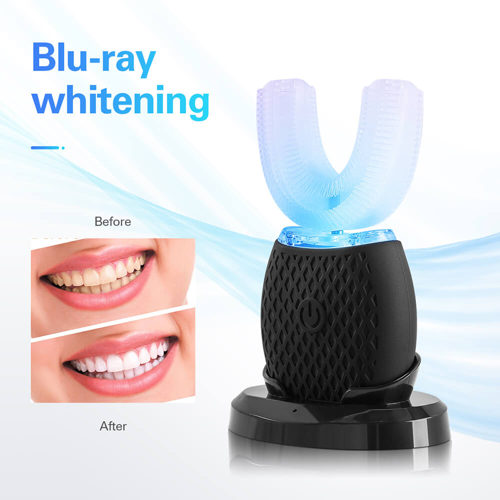 Intelligent Automatic Silicone Sonic Electric Toothbrush USB Rechargeable U-type Blue Light Teeth Whitening Toothbrush 4 Modes
