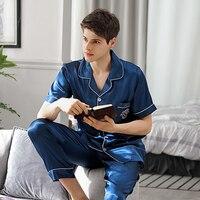 Sleepwear Male Summer Short Sleeve Long Pants Ice Silk Two Piece Pajama Sets Blue Thin Men Pyjamas Homewear 9008B