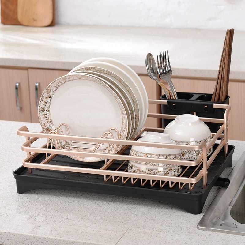 Aluminium Alloy Dish Rack Kitchen Organizer Storage Drainer Drying Plate Shelf Sink Knife and Fork Container Rose Gold