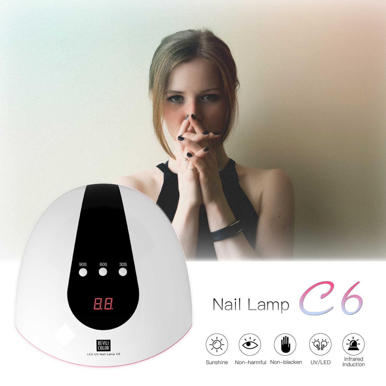 72W LED UV נייל מנורת 24 נוריות נייל מייבש לריפוי שני יד UV ג 'ל לק עם חיישן טיימר LCD תצוגת 30/60/90s ייבוש
